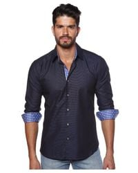 Jared Lang - Blue Mens Woven Button Down Shirt for Men - Lyst