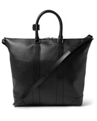 Saint Laurent | Black Coated-Canvas Leather Tote Bag for Men | Lyst