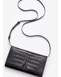 Vince - Black Signature Collection Stamped Croc Multifunction Pouch - Lyst