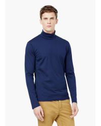 Mango | Blue Turtleneck Cotton T-shirt for Men | Lyst