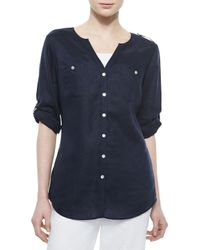 Go> By Go Silk - Black Linen Button-front Tunic - Lyst