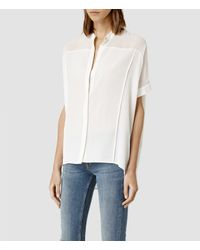 AllSaints - White Fleet Shirt - Lyst