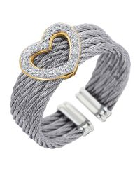 Alor | Metallic Diamond Heart-station Cable Ring | Lyst