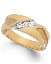 Macy's | Metallic Men's Diamond Diagonal Band In 10k Gold (1/4 Ct. T.w.) for Men | Lyst