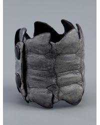 Scunzani Ivo - Gray Leather Cuff - Lyst