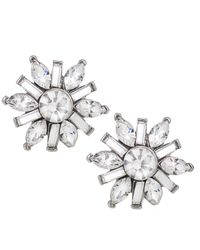 Carolee | Metallic Silver-tone Small Button Snowflake Earrings | Lyst