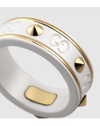Gucci | Icon Ring With Studs In Yellow Gold And White Zirconia Powder | Lyst