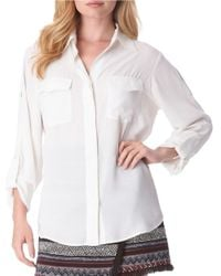 Sam Edelman | White Riley Button-front Blouse | Lyst