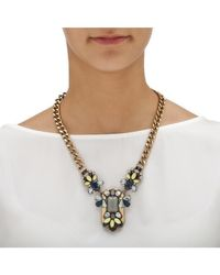 Palmbeach Jewelry | Gray Grey And Blue Crystal And Lucite Multi-shaped Necklace With Curb-link Chain In Gold Tone | Lyst