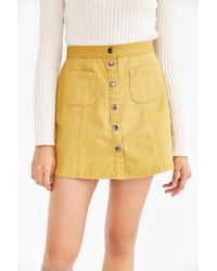 BDG - Yellow Twill Button-front A-line Skirt - Lyst