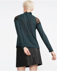 Zara | Green Lace Top | Lyst