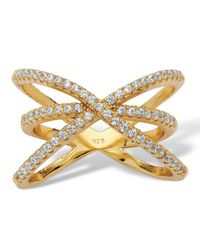 Palmbeach Jewelry - Metallic .57 Tcw Micro-pave Cubic Zirconia Open Loop Crossover Ring In 14k Yellow Gold Over Sterling Silver - Lyst