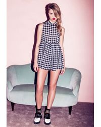 Missguided - Black Gingham Smock Playsuit Monochrome - Lyst