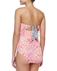 Tommy Bahama - Multicolor Medallion-print Bandeau One-piece Swimsuit - Lyst