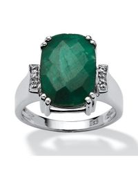 Palmbeach Jewelry | Green 4.86 Tcw Cushion-cut Emerald And White Topaz Accented Ring In Platinum Over Sterling Silver | Lyst