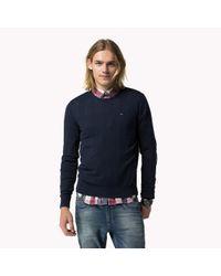 Tommy Hilfiger - Blue Cotton Crew Neck Sweater for Men - Lyst