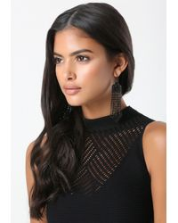 Bebe - Black Fringe Statement Earrings - Lyst