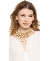 Kenneth Jay Lane - Metallic Cascading Faux Pearl Necklace Pearl - Lyst