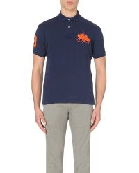 Pink Pony | Blue Dual Logo-embroidered Cotton-piqué Polo Shirt for Men | Lyst