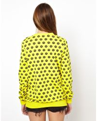 Markus Lupfer - Yellow Smacker Lip Print Sweatshirt - Lyst