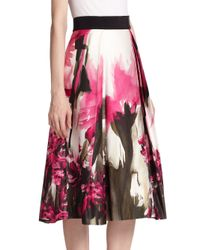 MILLY - Pink Floral Print Midi Skirt - Lyst