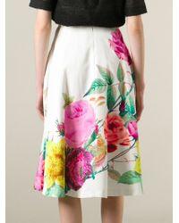 P.A.R.O.S.H. - Multicolor High Waisted Flower Print Skirt - Lyst