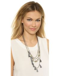 Serefina - Metallic Tassel Layer Necklace - Silver/charcoal - Lyst