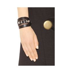 Balenciaga | Black Giant Leather Bracelet | Lyst