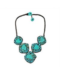 Aeravida | Green Chic One Of A Kind Mosaic Turquoise Embellished Necklace | Lyst