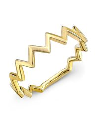 Anne Sisteron | 14kt Yellow Gold Zig Zag Stacking Ring | Lyst