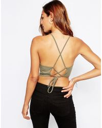 ASOS - Natural Cropped Tie Back Cami Top - Lyst