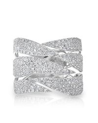 Anne Sisteron | Metallic 14kt White Gold Diamond Flame Ring | Lyst