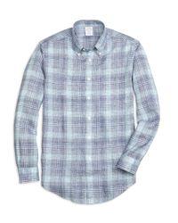 Brooks Brothers | Blue Regent Fit Glen Plaid Linen Sport Shirt for Men | Lyst