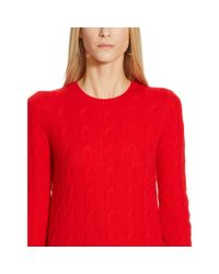 Ralph Lauren Black Label | Red Cabled Cashmere Crewneck | Lyst