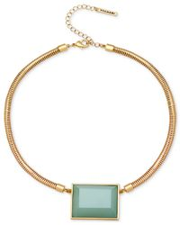 T Tahari | Gold-tone Green Stone Snake Chain Pendant Necklace | Lyst