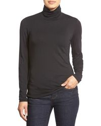 Nordstrom Collection | Black 'ultimate' Stretch Modal Turtleneck Top | Lyst