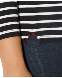 Lauren by Ralph Lauren - Black Plus Size Long-Sleeve Striped Top - Lyst