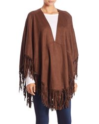 Alberto Makali | Brown Faux Suede Fringe Poncho | Lyst
