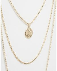 ASOS   Metallic Pack Of 2 Best Baes Coin Necklaces   Lyst