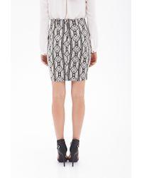 Forever 21 - Black Textured Diamond Print Pencil Skirt - Lyst