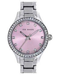 Ted Baker - Metallic Crystal Bezel Bracelet Watch - Lyst