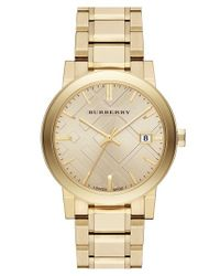 Burberry - Metallic Check Stamped Round Bracelet Watch for Men - Lyst