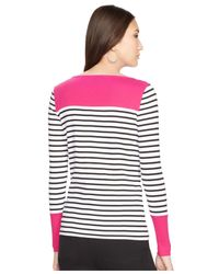 Lauren by Ralph Lauren - White Stripe Contrast Top - Lyst