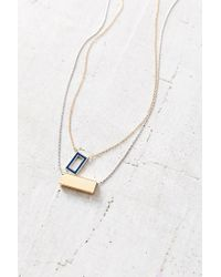 Urban Outfitters | Metallic Rectangle Pair Layering Necklace Set | Lyst
