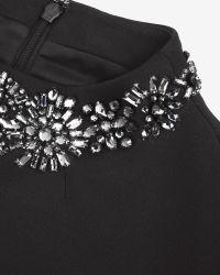 Ted Baker - Black Embellished Neckline Dress - Lyst