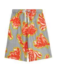 Jonathan Saunders | Gray Clara Tulip-print Silk-twill Shorts | Lyst