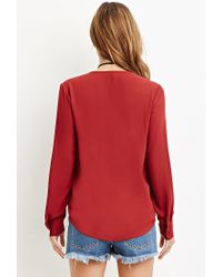 Forever 21 | Red Two-pocket Collarless Blouse | Lyst