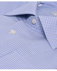 Jules B - Blue Micro Check Shirt W/ Pocket Square for Men - Lyst