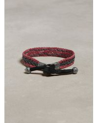 John Varvatos - Red Braided Leather Bracelet with Silver Detail for Men - Lyst