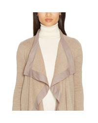 Pink Pony - Brown Silk-trim Draped Cardigan - Lyst